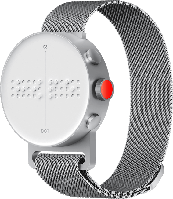 A Dot Watch rotated to the left, showing the lateral buttons and the crown.