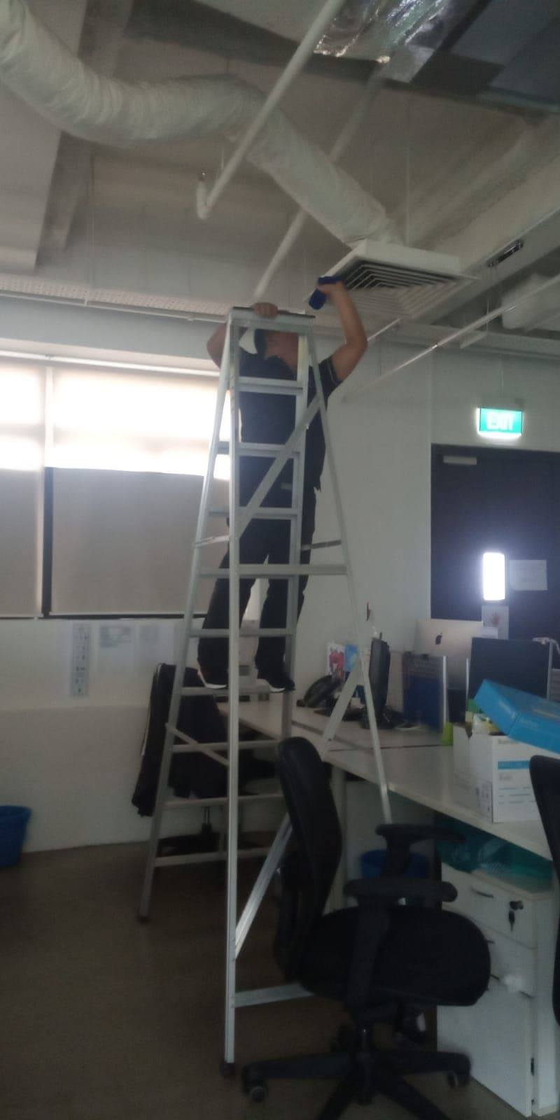 Disinfecting wipedown and cleaning of air vents and aircon ducts during covid-19