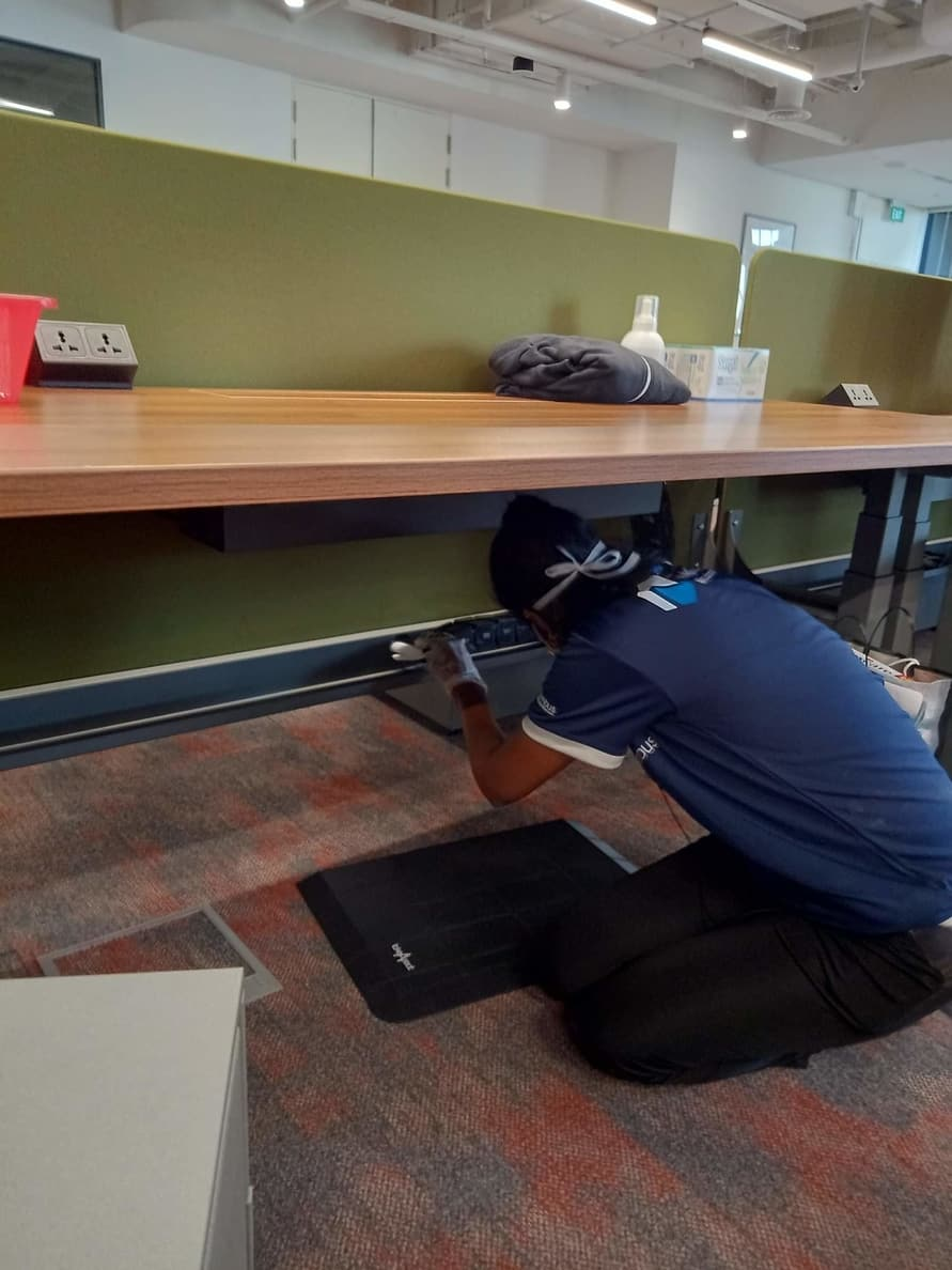 Disinfection of office table and table legs