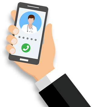 Cartoon hand holding iphone with doctor on screen for Telehealth