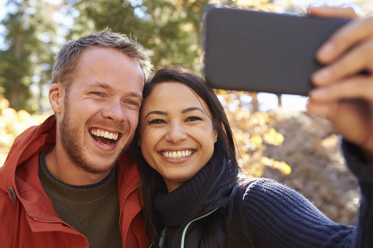 Couple smiling for a selfie