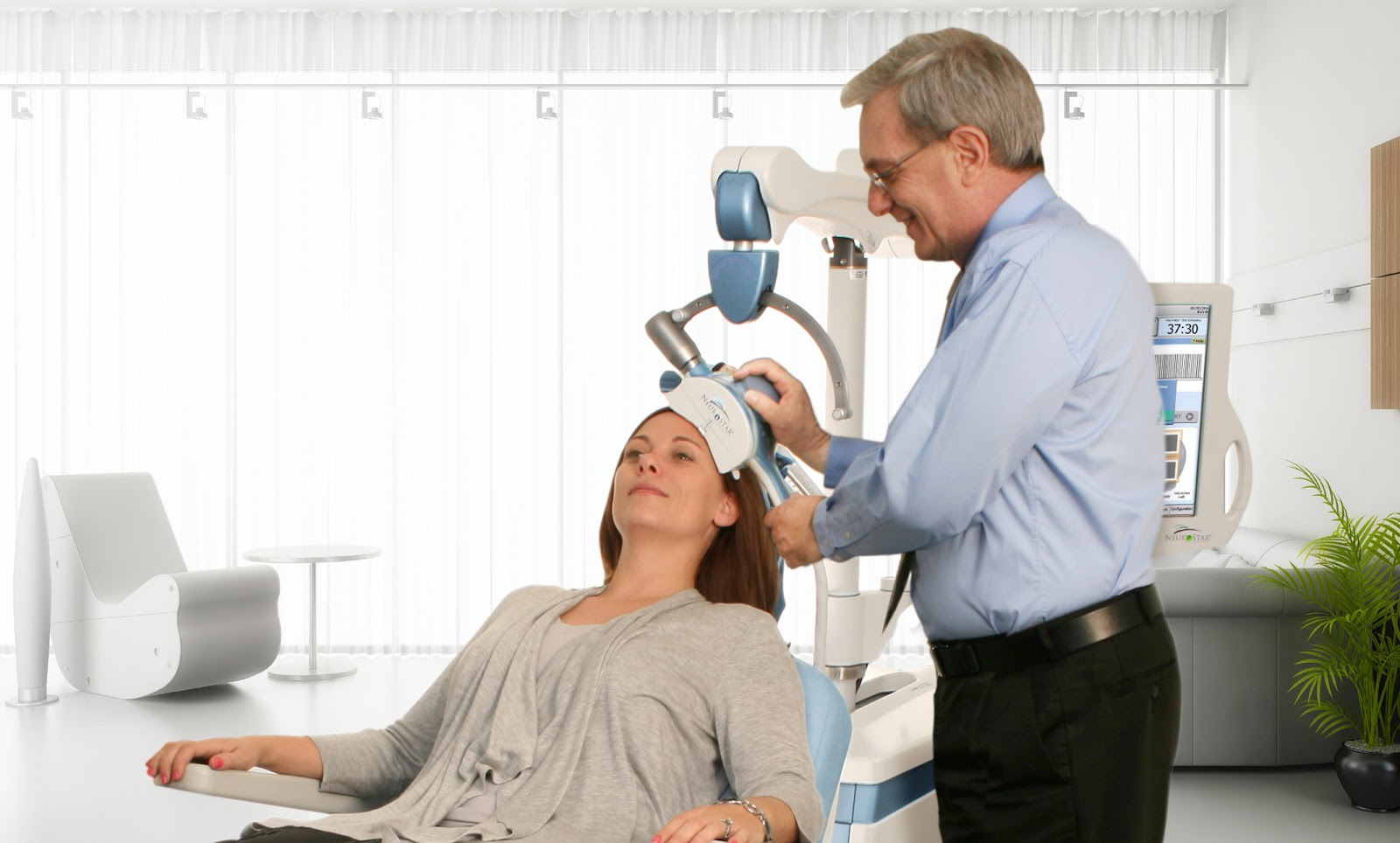 a woman receiving tms therapy