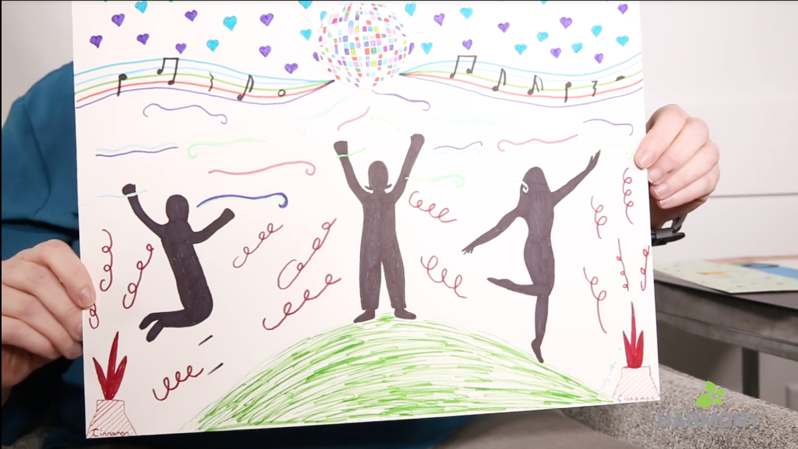Emily's drawing representing her enjoying herself again after depression