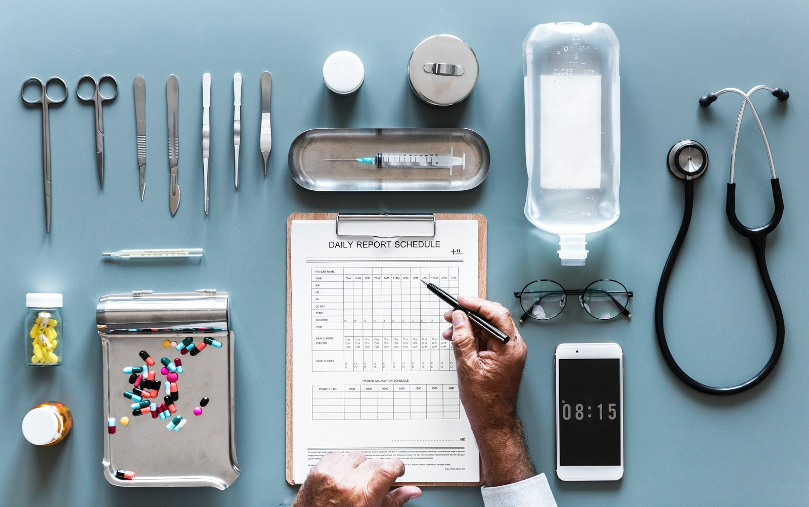 Doctor's tools and paperwork