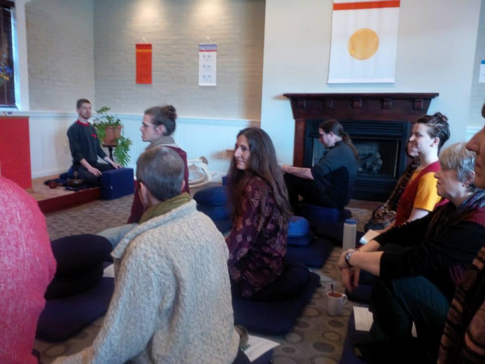 Group meditation at Shambhala