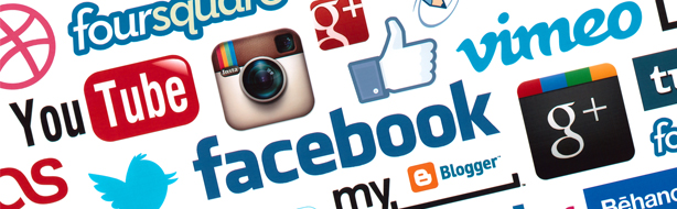 white banner with various social media icons including YouTube, Instagram, Facebook, and Twitter