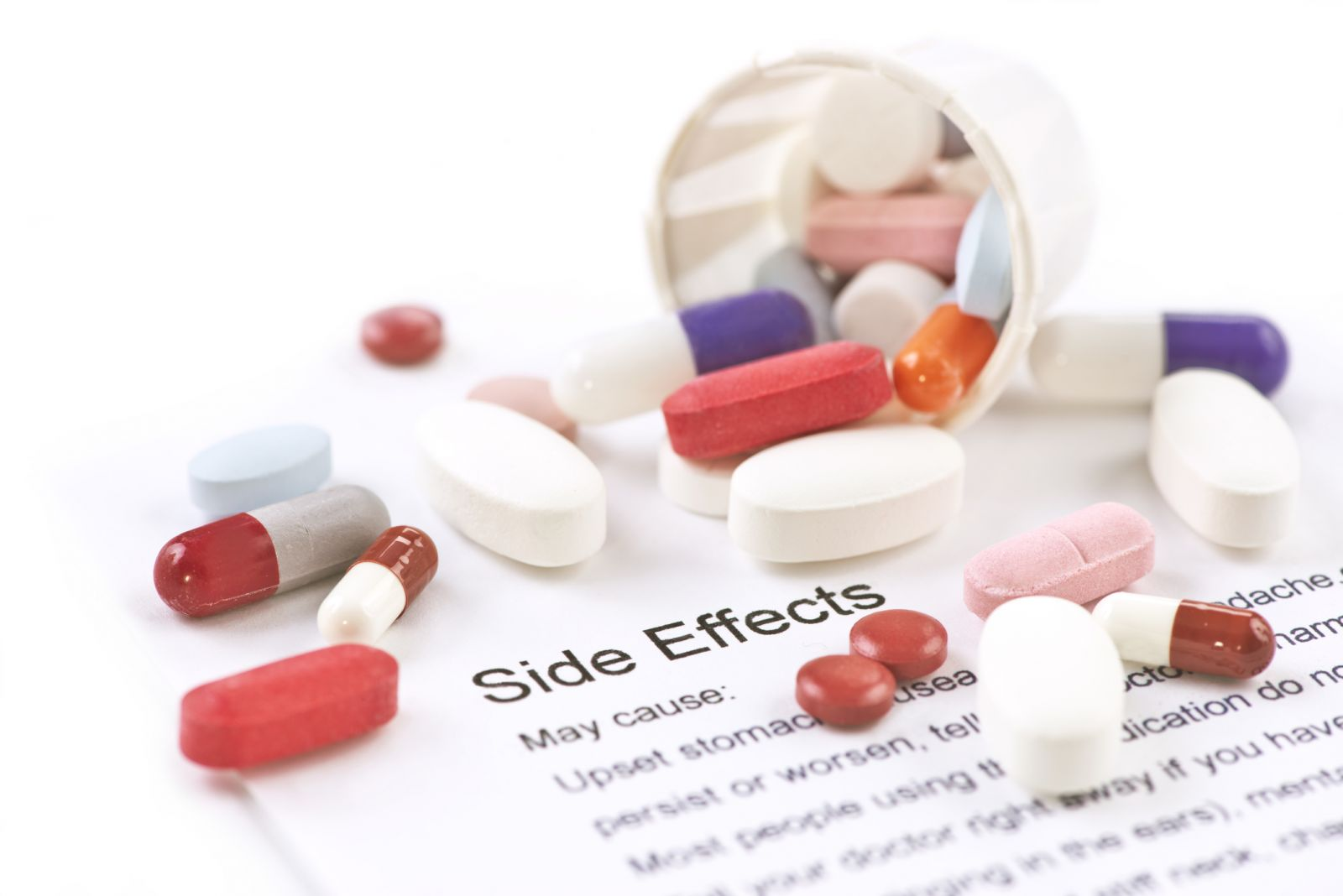 """Pills on top of a paper that reads """"side effects"""""""