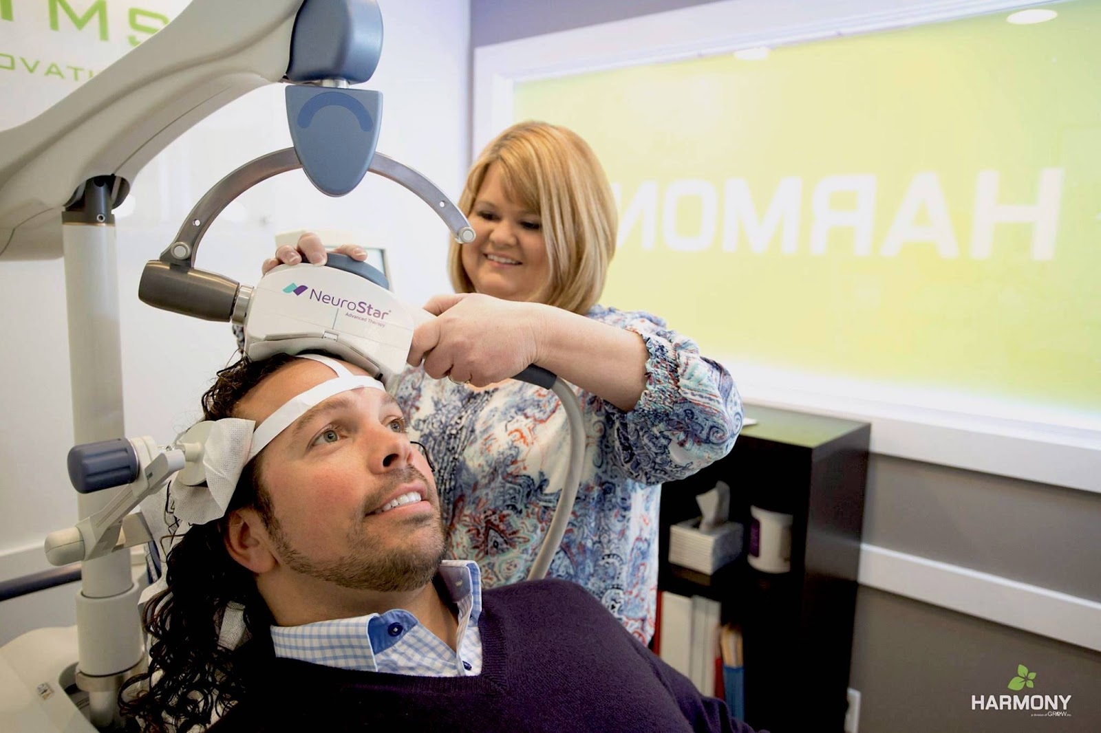 Patient receives TMS therapy with Neurostar machine.