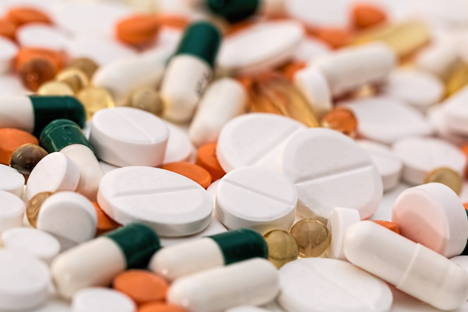 A close up of a variety of pills.