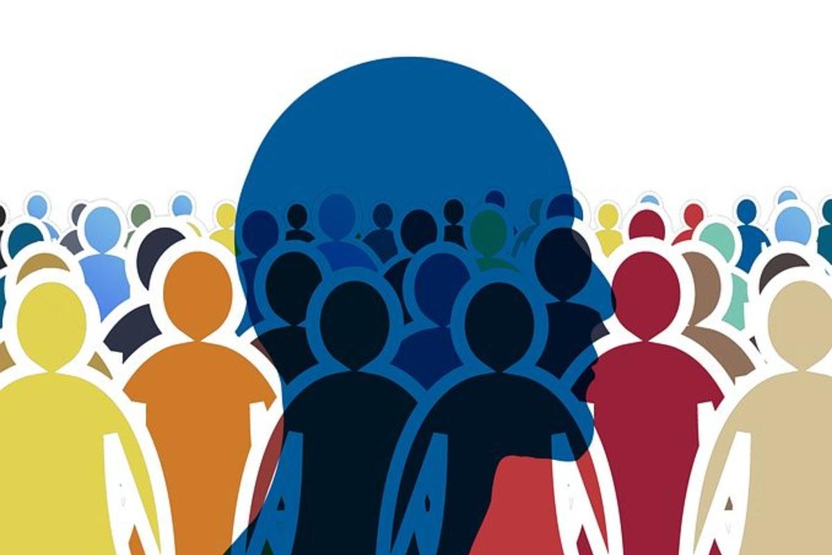 social anxiety blue head in crowd