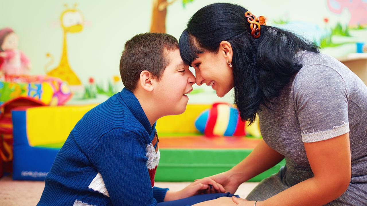 autistic child and parent