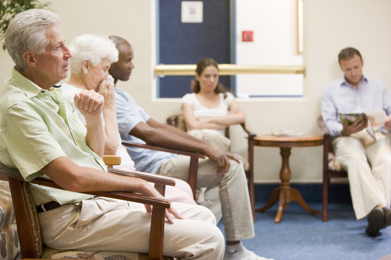 People waiting to receive TMS treatment