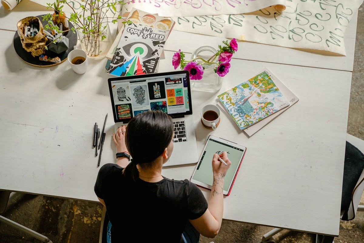 woman managing tech anxiety while working from home