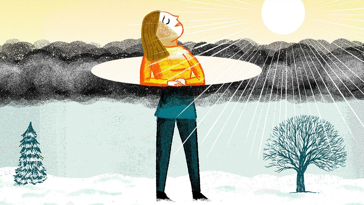 A drawing that shows a woman with Seasonal Affective Disorder as being sad in the winter and happy in the summer.