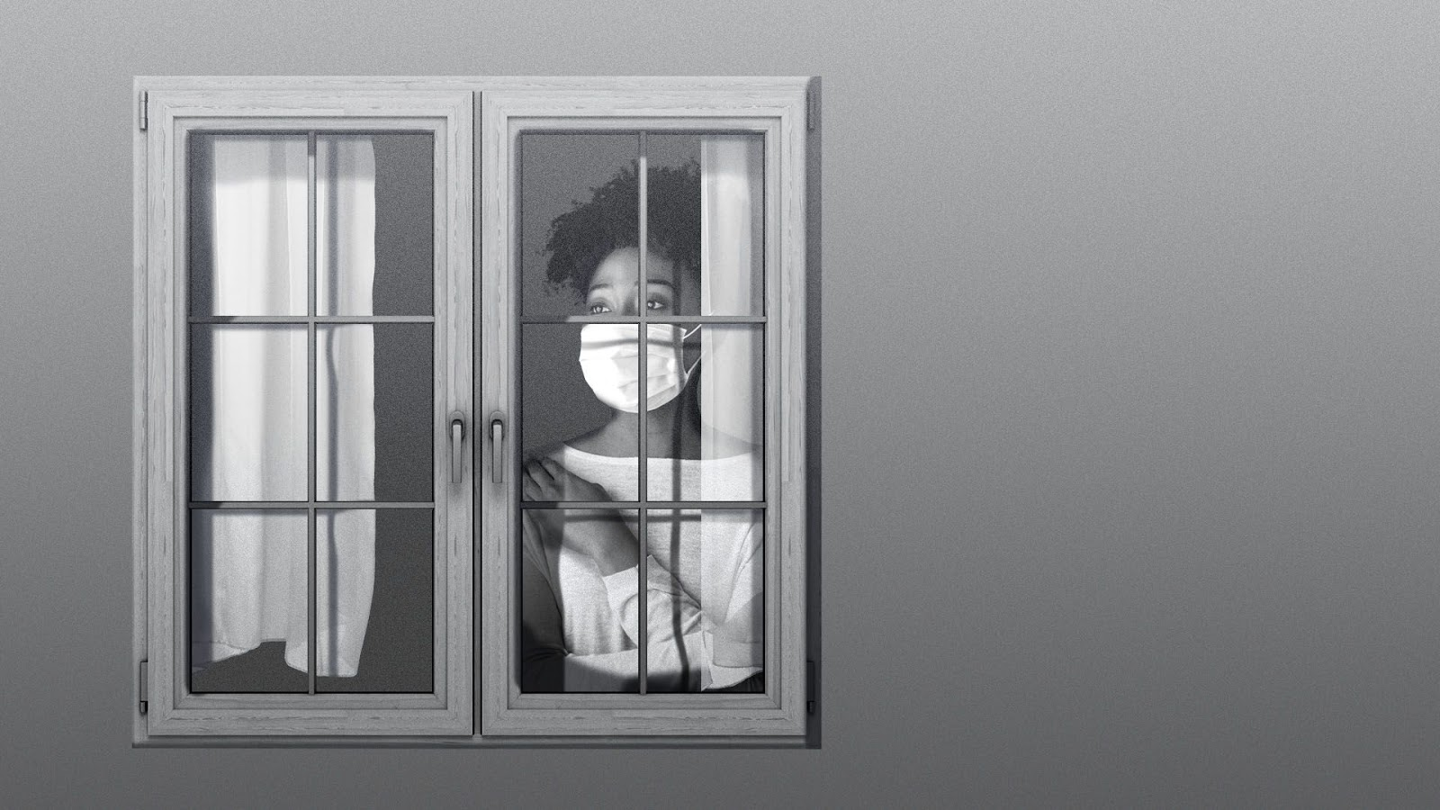 A woman wearing a mask looks out at the world through a window.