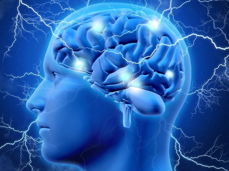 Blue CGI head and brain with electricity striking the brain