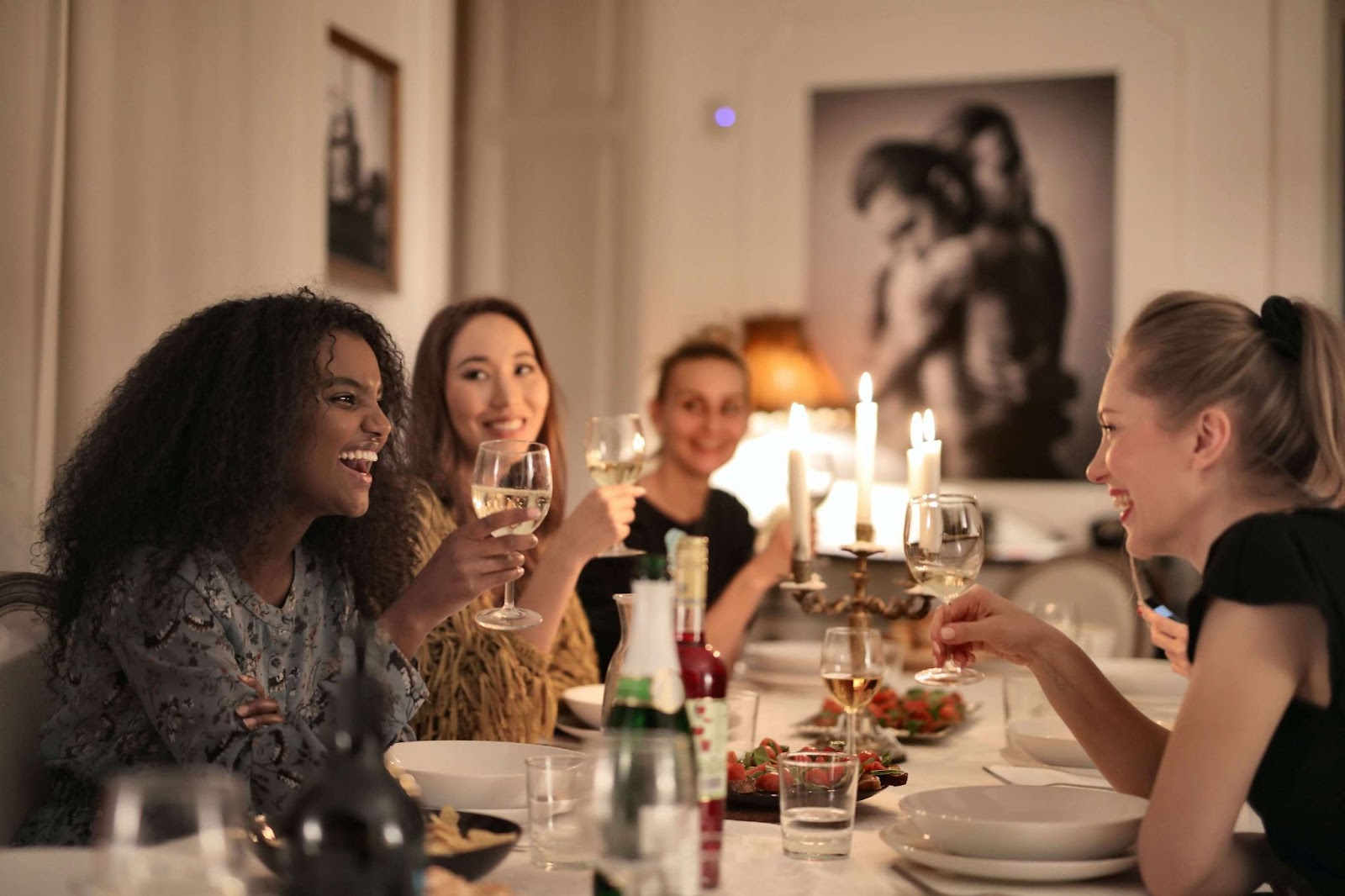 A group of women enjoying dinner together