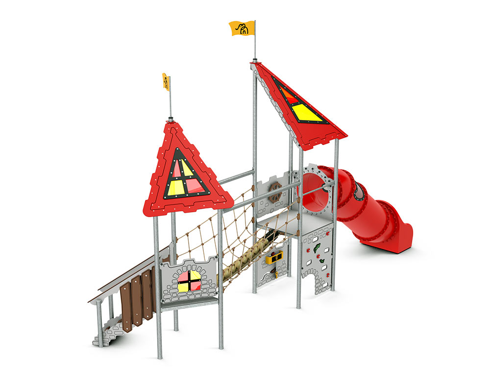 This climbing frame has a castle theme with tube slide, rope bridge and dungeon