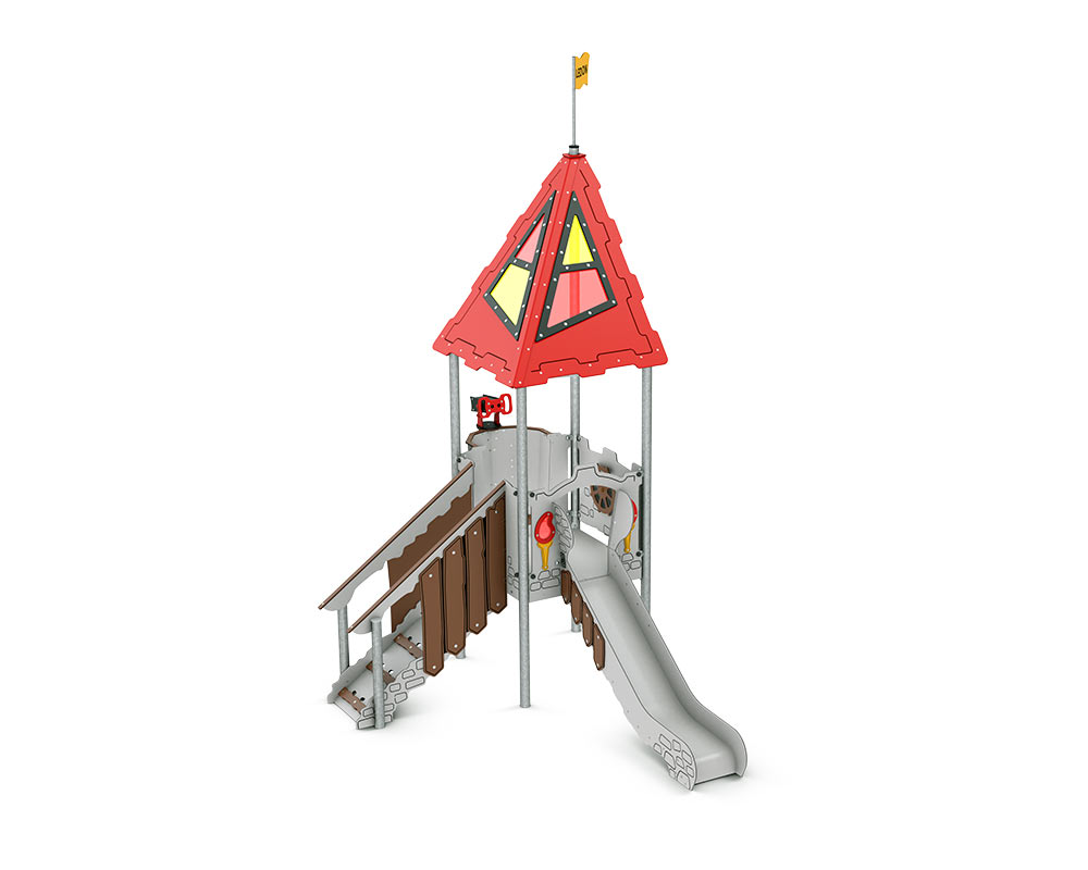 a castle themed play tower for toddlers with steps upto platform and slide