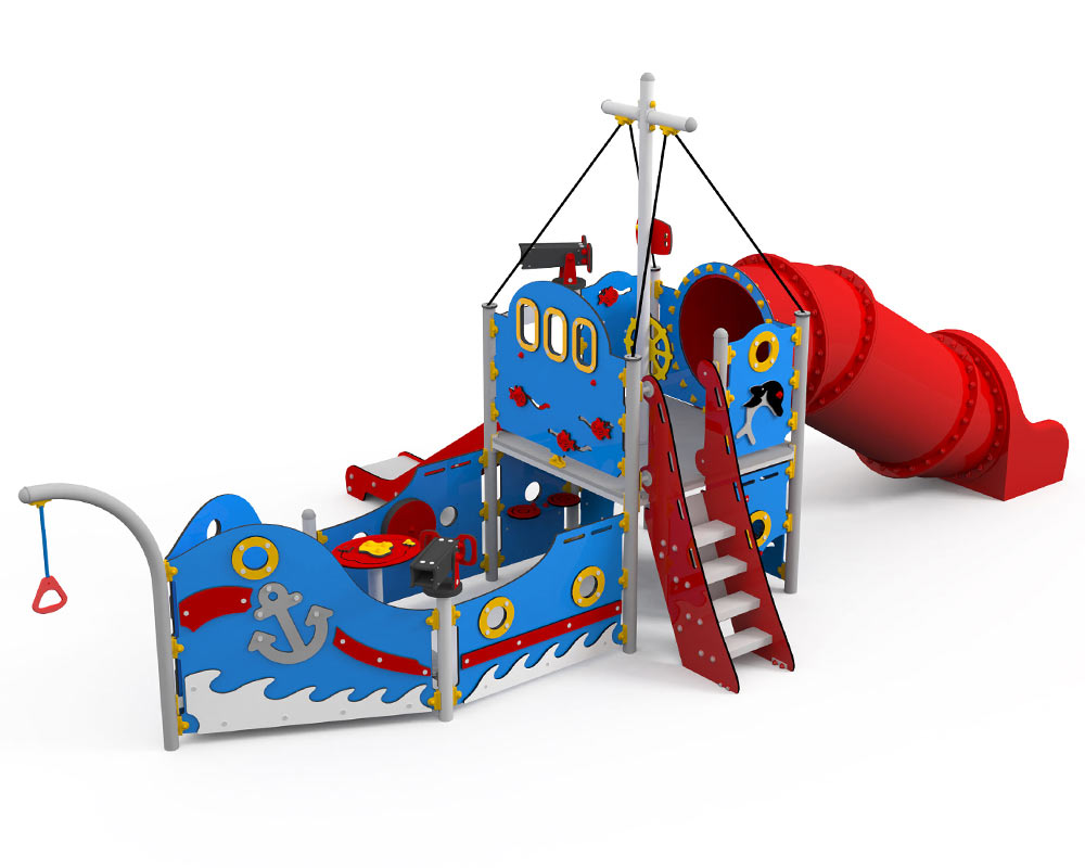 A colourful play boat with sensory area look out platform and slides