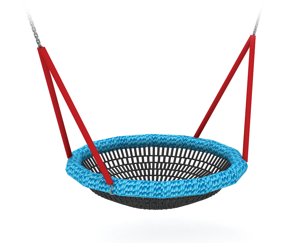 A swing seat in the shape of a birds nest