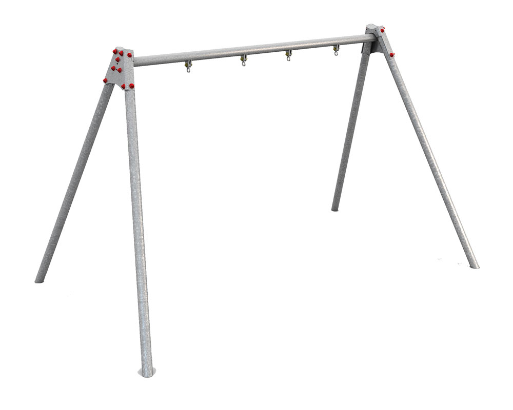 a galvanised high quality swing frame able to take two seats of differing configuration