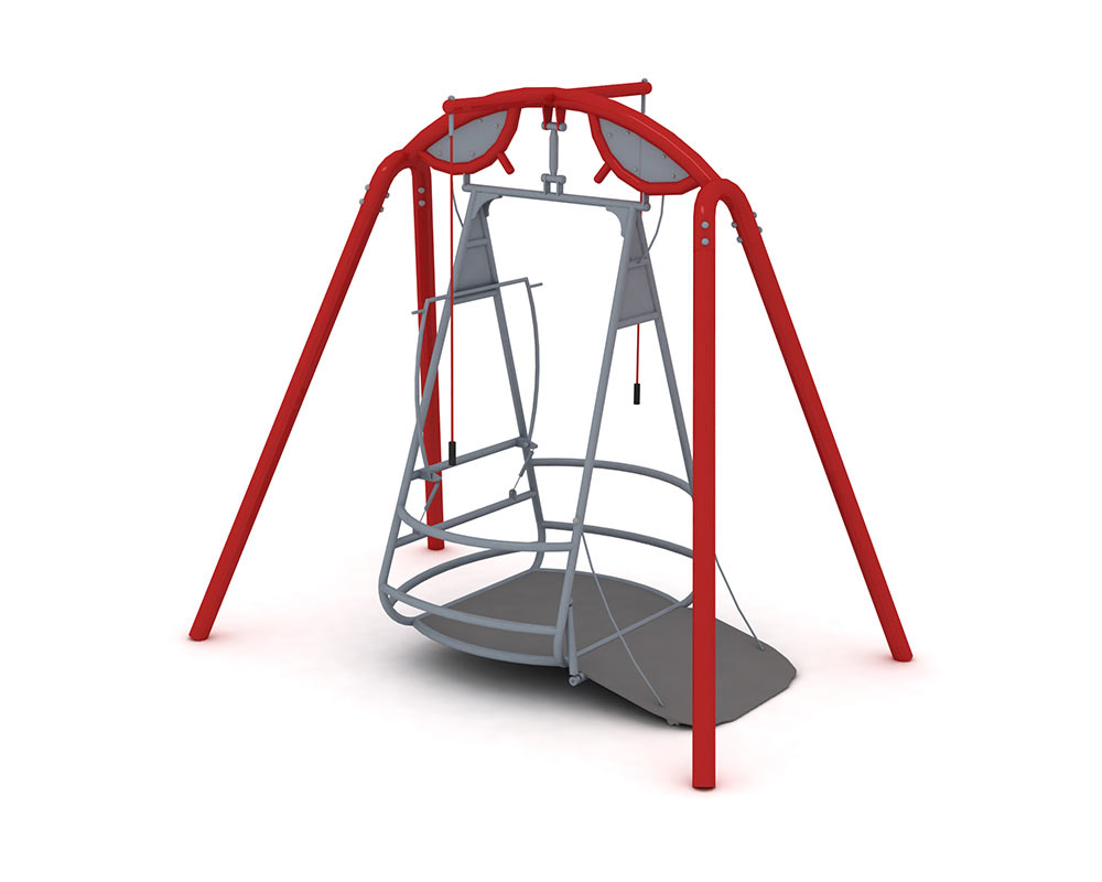 a wheelchair accessible swing with ramp for safe egress