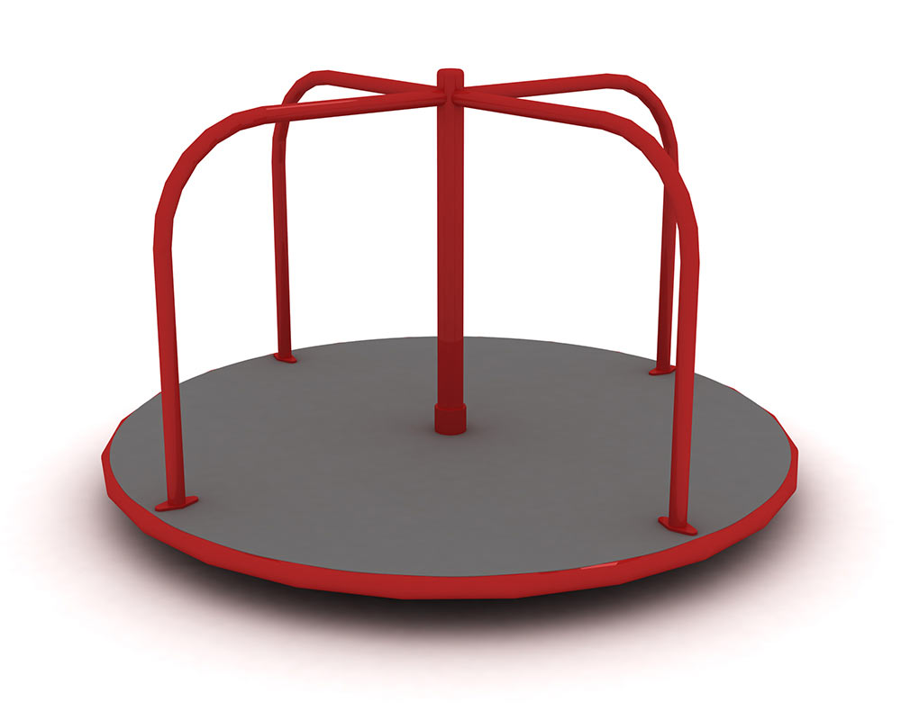 a playground roundabout with handle bars