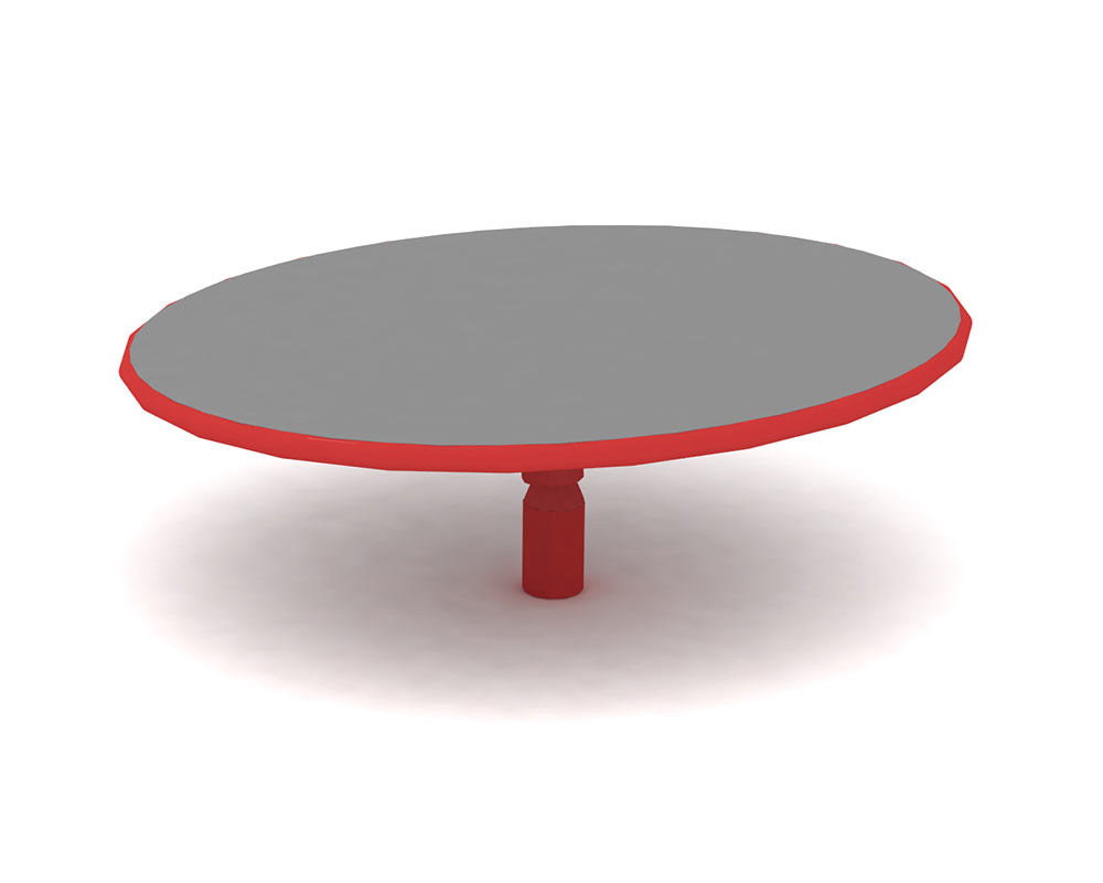 a playground spinner with a circular deck