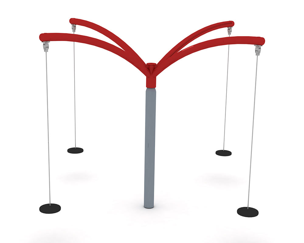 a four seated rotating swing