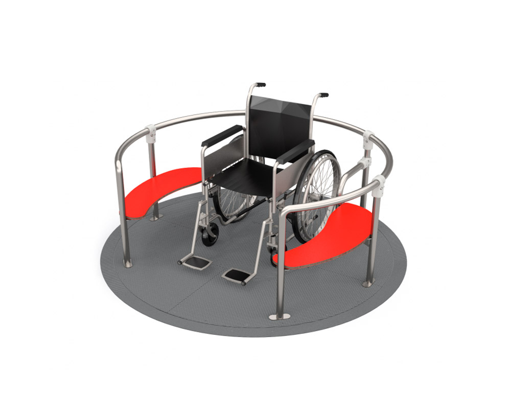 an inclusive wheelchair accessible roundabout with a flush to ground entry and exit