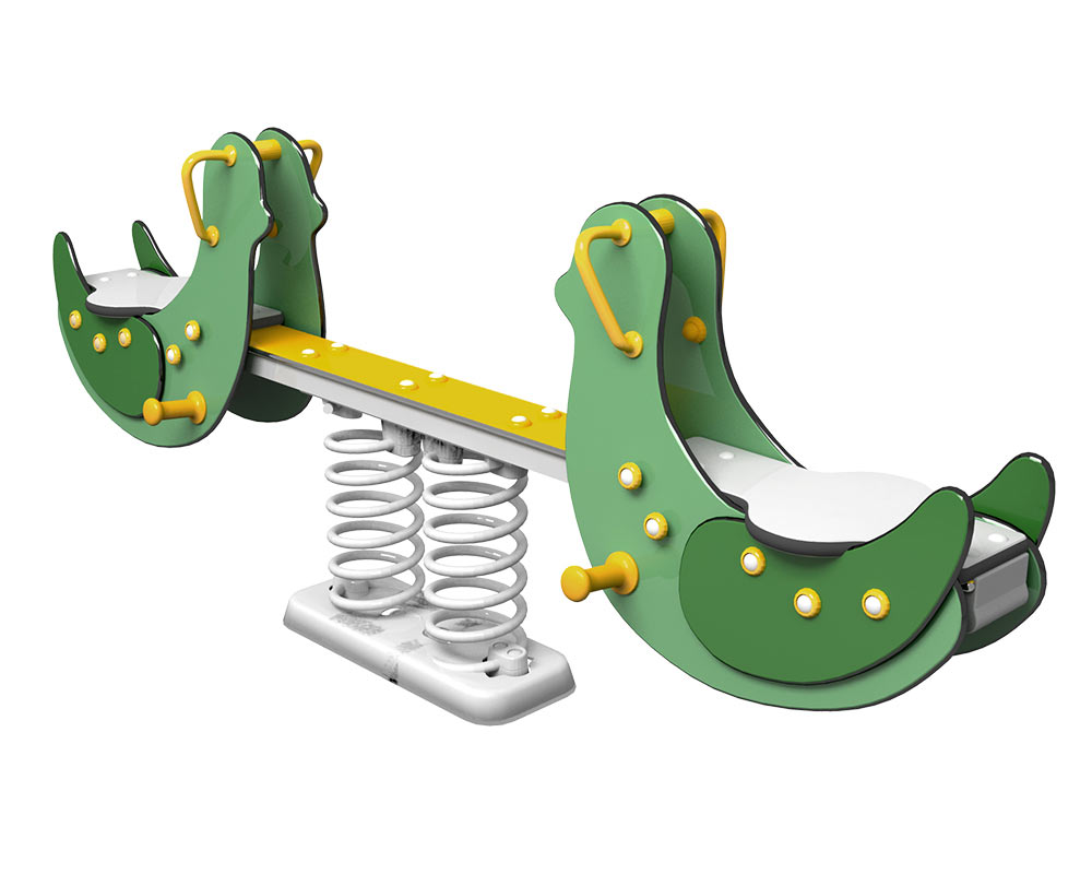 a seesaw for playgrounds in the shape of a bird that seats two children