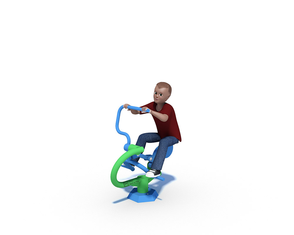 The Rider is an outdoor gym unit designed to aid fun cardiovascular exercise