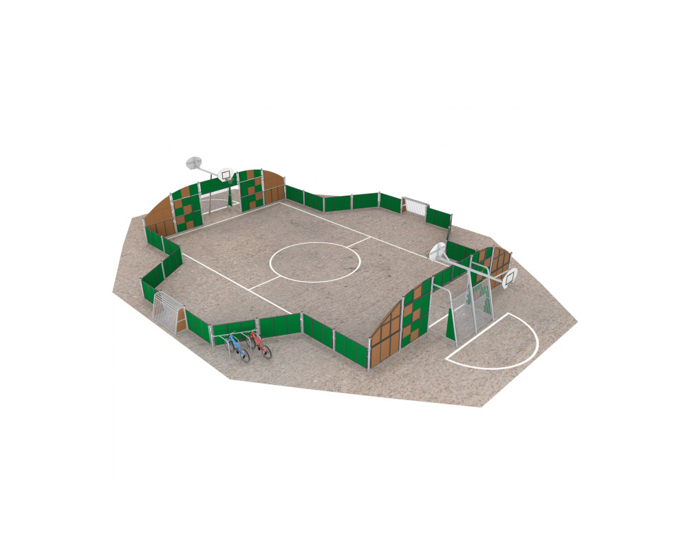 An enclosed multi use games area fencing court with goals for football and basketball