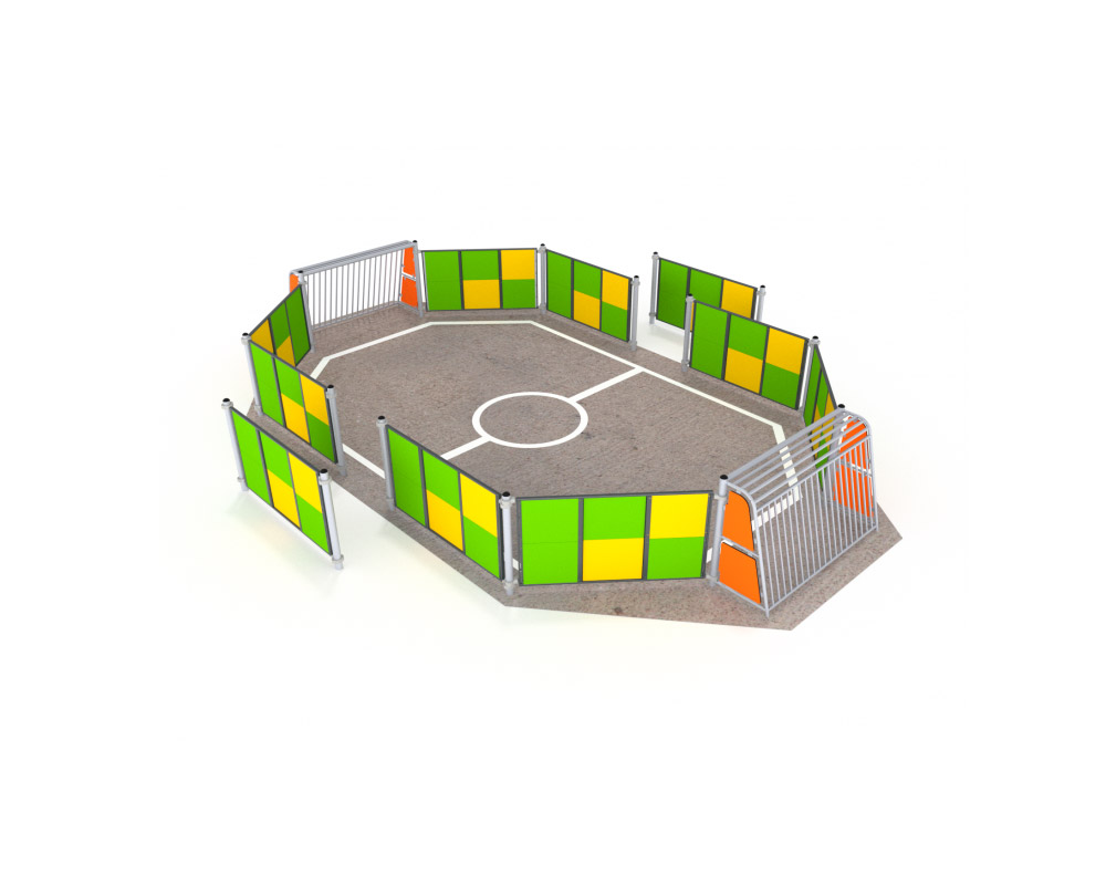 An enclosed multi use games area fencing system with goals for football and basketball