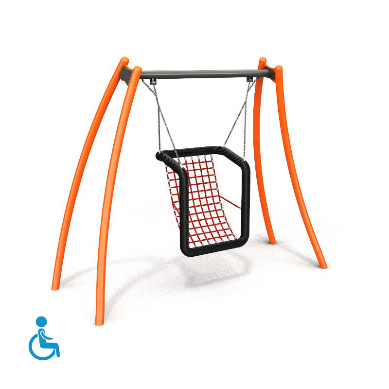 an A frame swing with large nest seat allowing those less able to swing safely