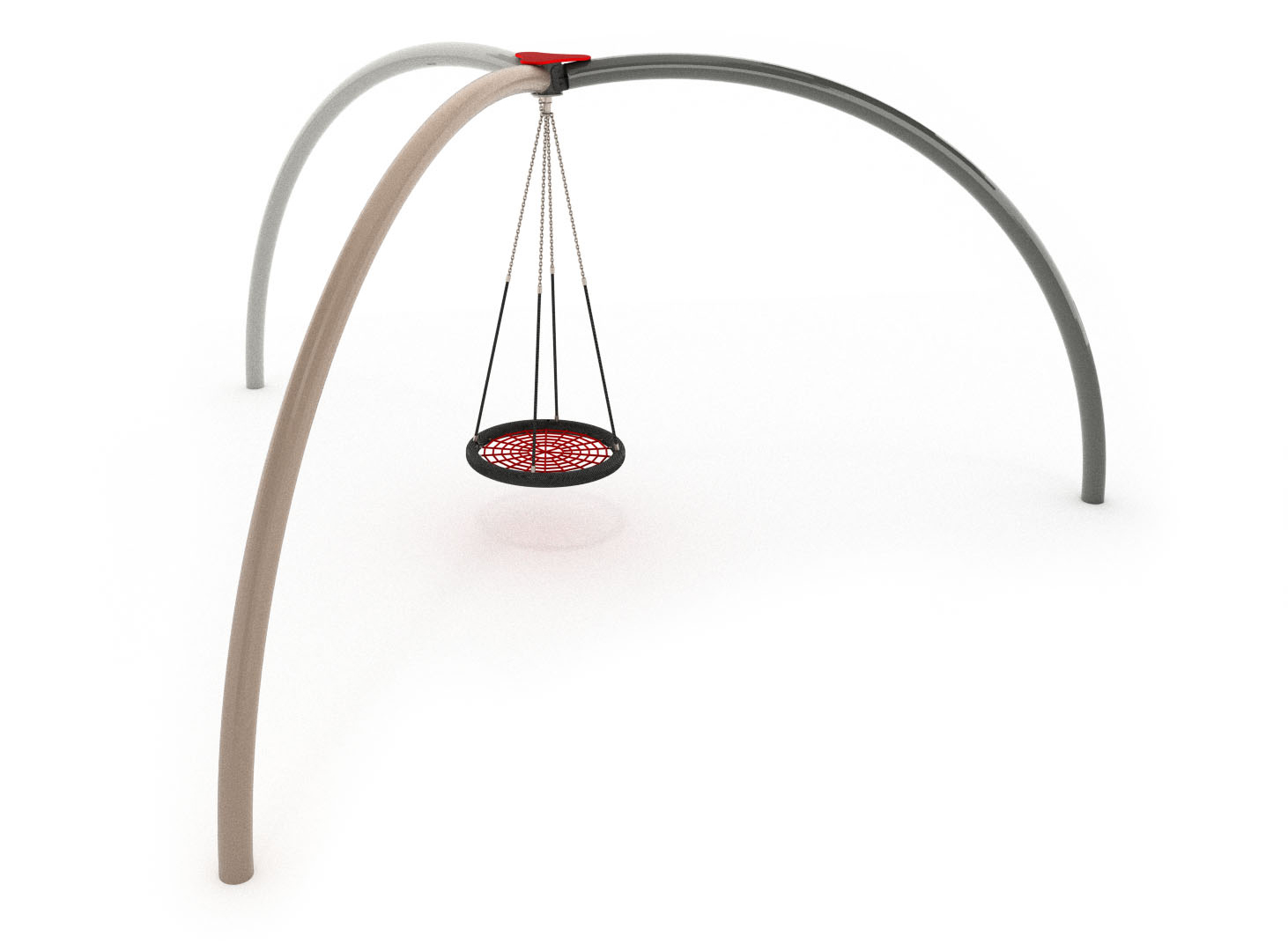 A basket swing set detween three tripod legs fully inclusive