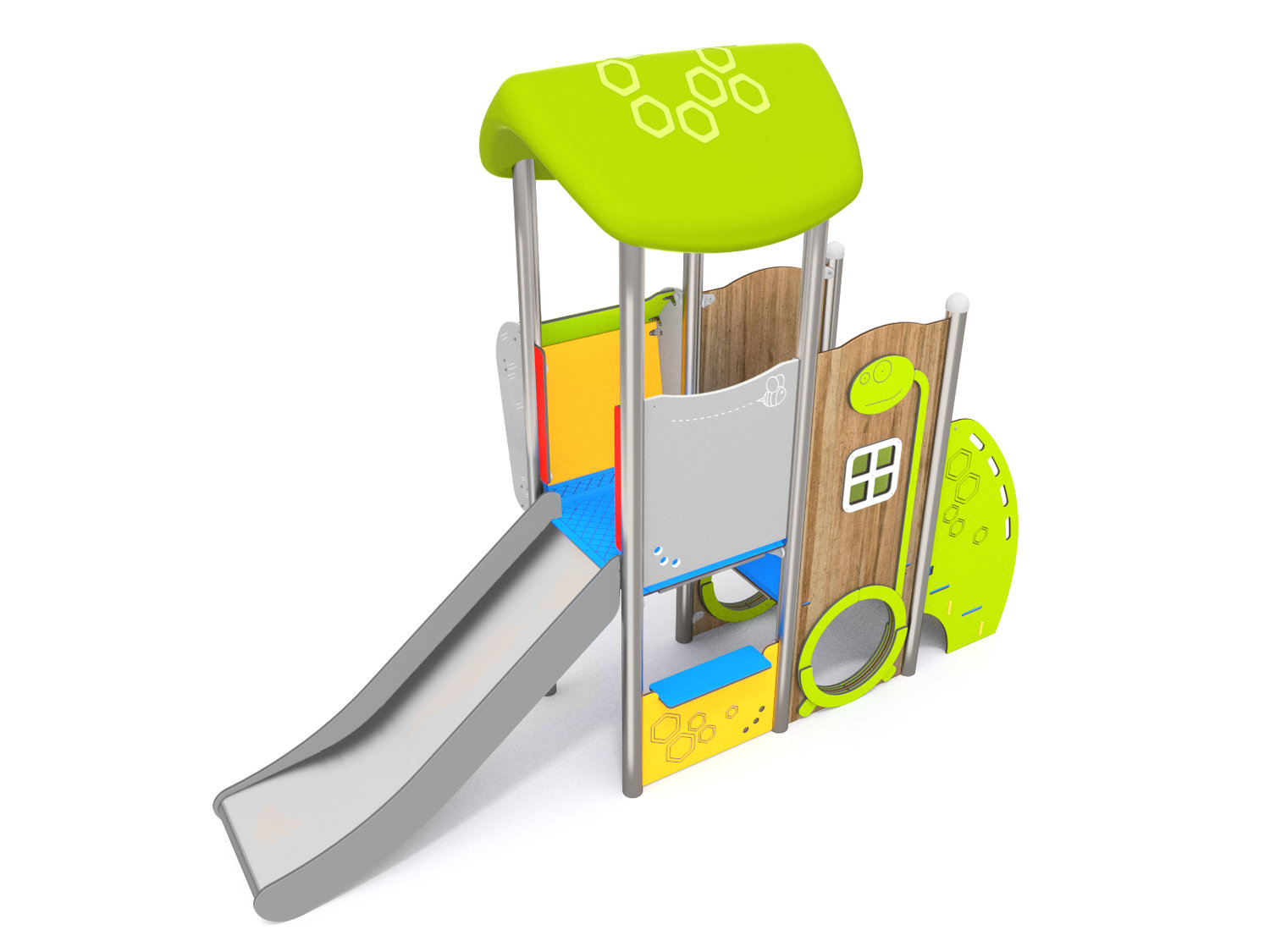 A toddler multi play climbing unit with steps, slide, raised platform and sensory games