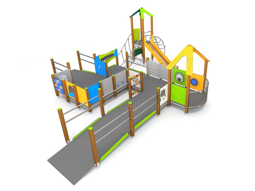 Withover17playfeaturesthis inclusive wheelchair accesible play frame has many sensory experiences
