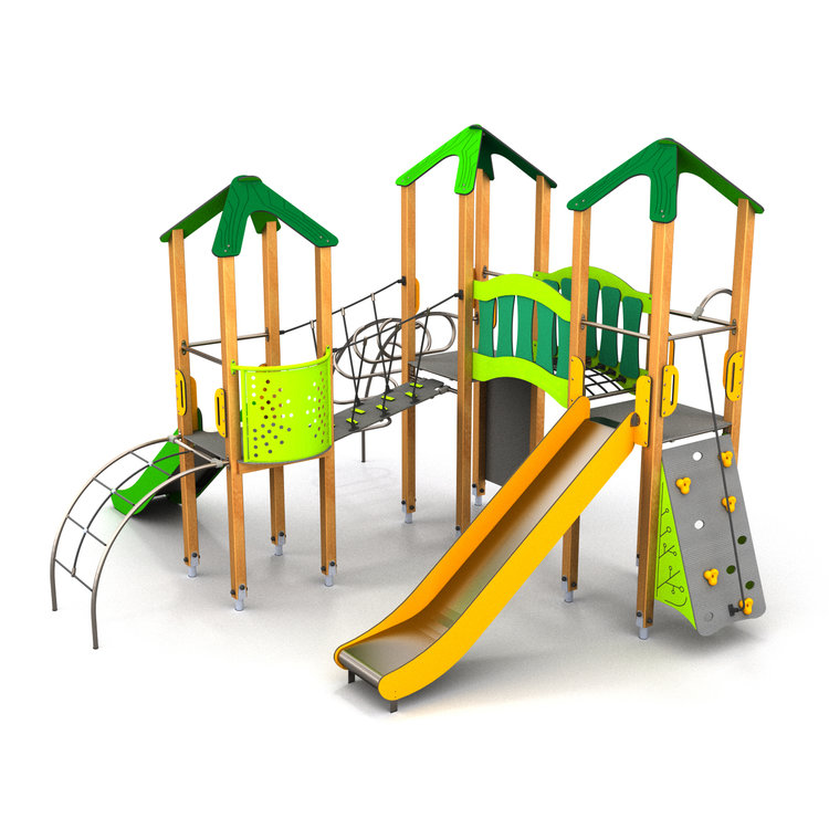 a large multi play timber built climbing frame with over 11 play features within a compact space