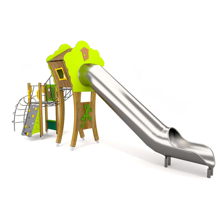 A large timber built climbing frame with many activities comprising of a tree house tower, climbing cleats, ladder, rope bridge and huge tube slide