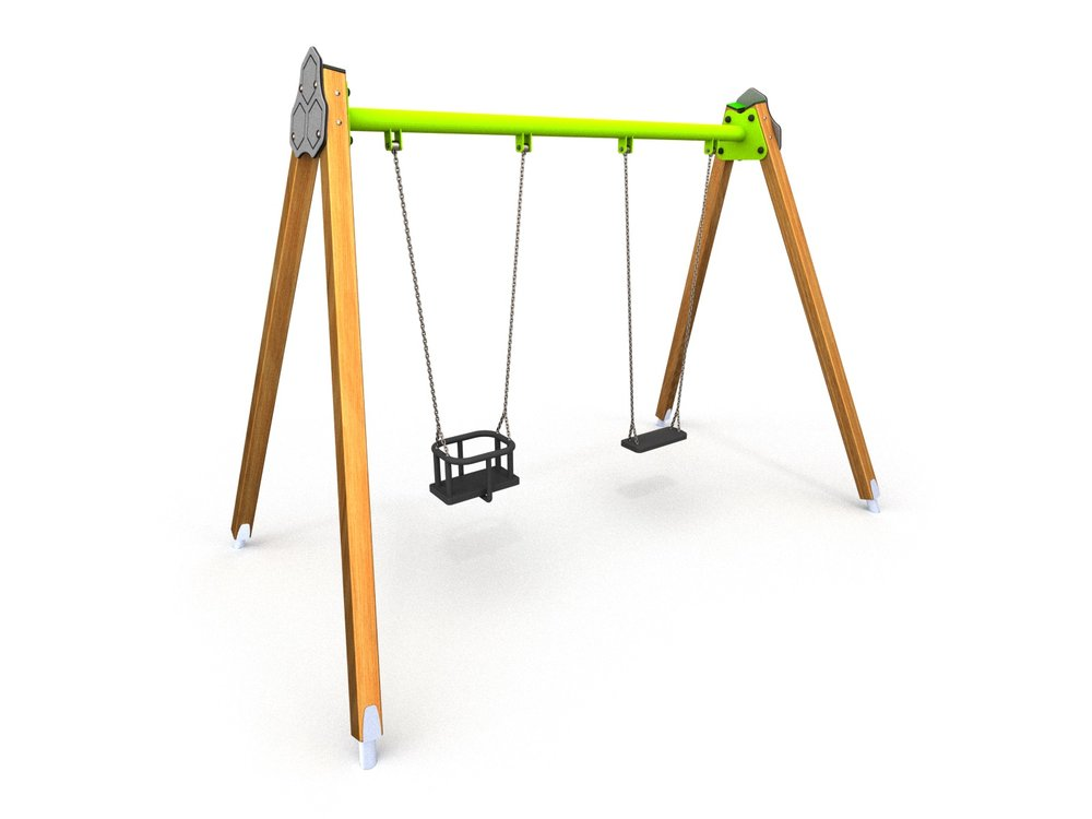 a timber double swing with cradle and flat seat with steel crossbar