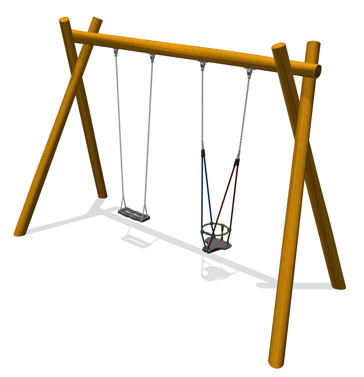 a timber robinia swing with a toddler cradle seat and junior flat seat