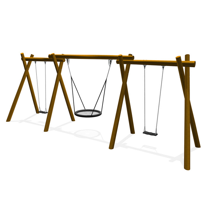 A timber robinia three bay swing with two flat and one basket seat arrangement