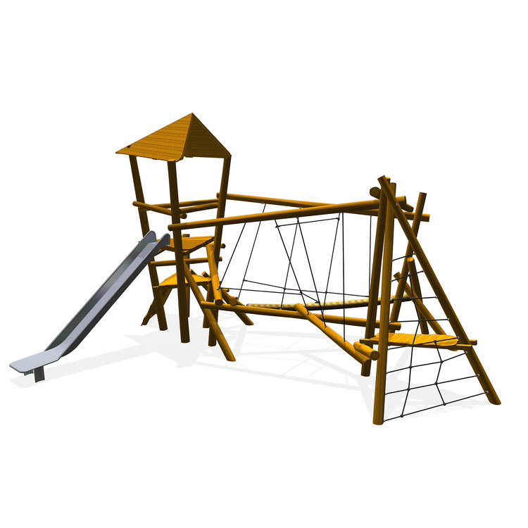 a timber multiplay unit for teenagers with challenging climbing and sliding elements