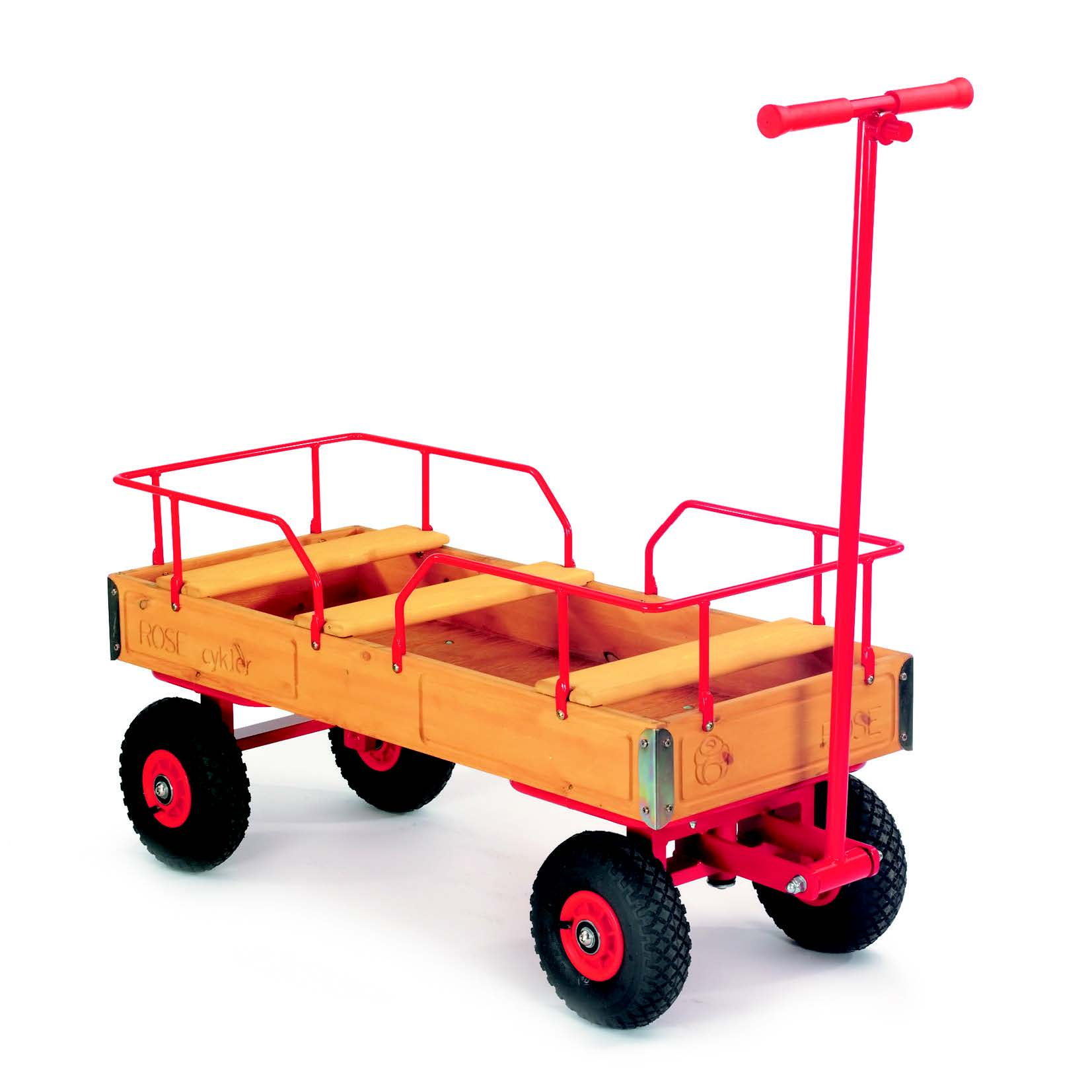 Pull along Wagon with rail and three seats