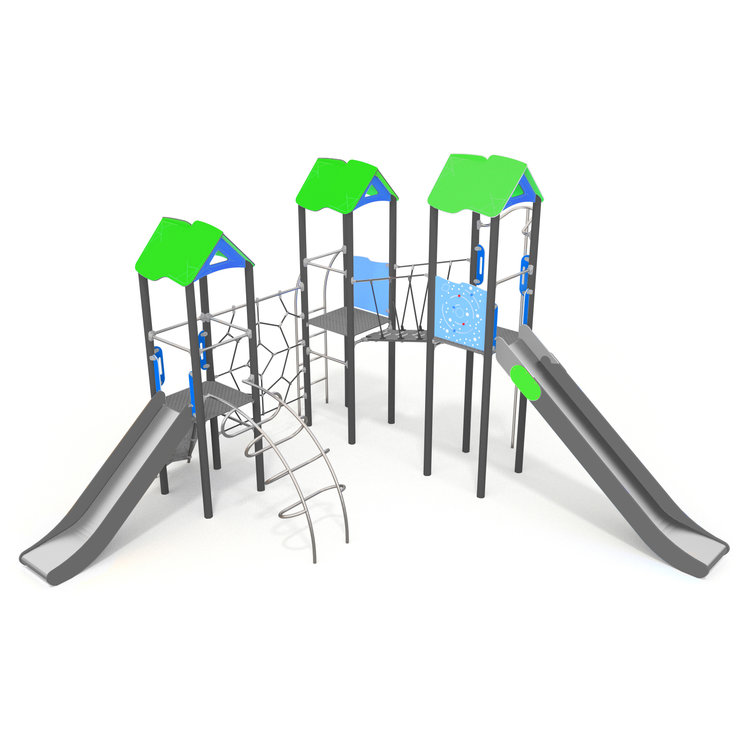 This climbing frame has dynamic moving items and fast slides create a challenging play structure on a small footprint