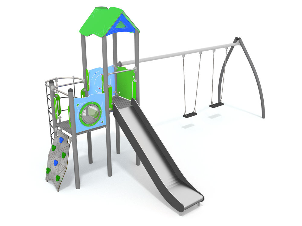Cliimbing frame with slide and swing represents great play value
