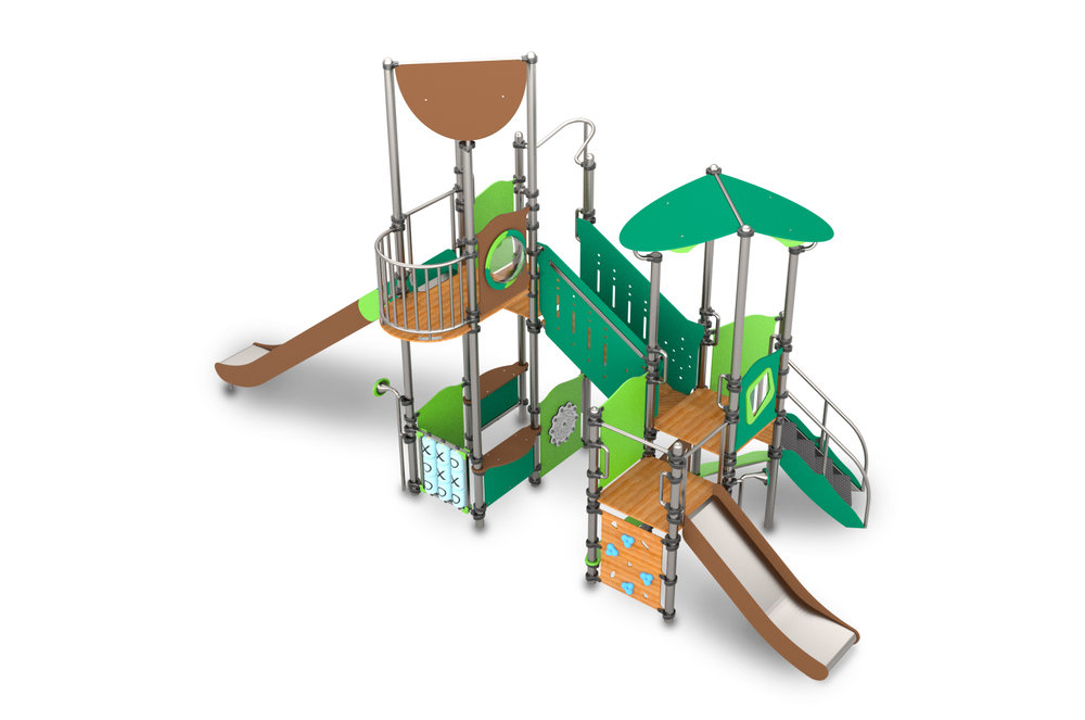 This climbing frame has slides, walkways on a small footprint
