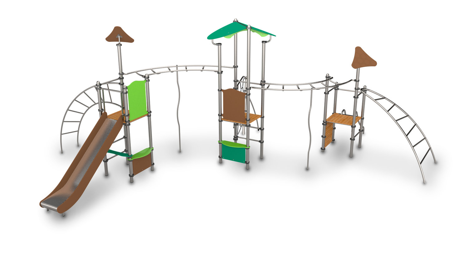 Climbing frame with poles and slides